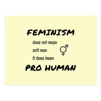 Feminism slogan and symbol cream postcard