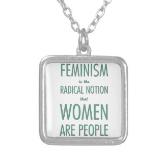 Feminism: The Radical Notion that Women are People Square Pendant Necklace