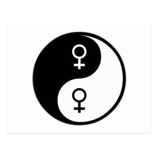 Feminismo de Yin Yang Tarjeta Postal