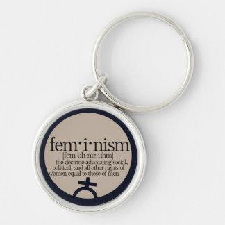 Feminismo definido llavero redondo plateado
