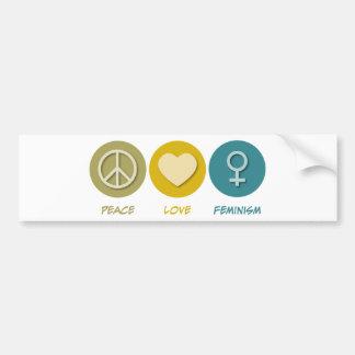 Feminismo del amor de la paz pegatina de parachoque