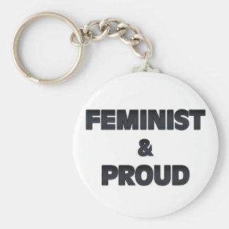 Feminist and Proud 2 Basic Round Button Keychain