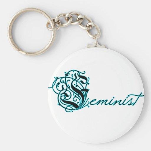 Feminist Basic Round Button Keychain