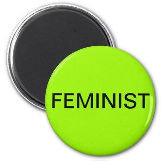 Feminist, black text on lime green magnet
