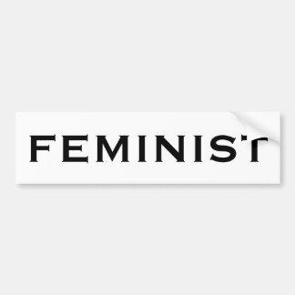 Feminist, bold black letters on white bumper sticker