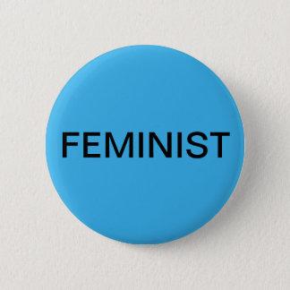 Feminist - bold black text on bright blue pinback button