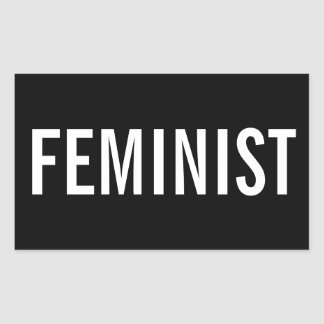 Feminist, bold white letters on black stickers