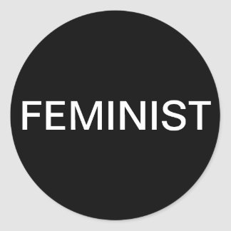 Feminist, bold white text on black stickers
