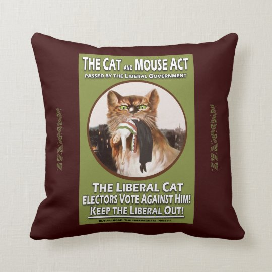 Feminist Cat and Mouse Suffragette Cushion