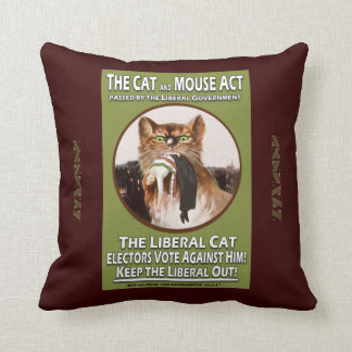 Feminist Cat and Mouse Suffragette Cushion Throw Pillow