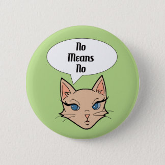 Feminist Cat Cartoon Illustration Button