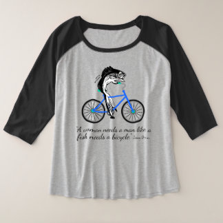 Feminist Fish Riding a Bicycle (with quote) Plus Size Raglan T-Shirt