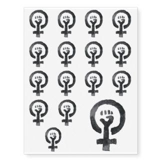 Feminist Fist (blue background) Temporary Tattoos