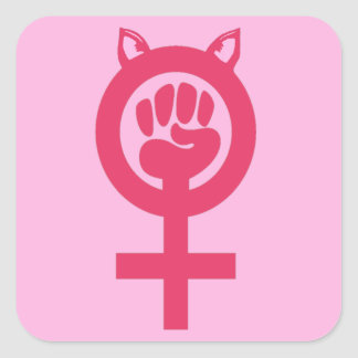 Feminist Fist Pink Pussy Power Women's March Square Sticker