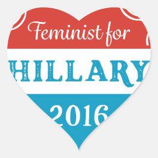 Feminist for Hillary 2016 Heart Sticker