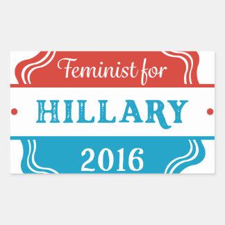 Feminist for Hillary 2016 Rectangular Sticker