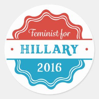 Feminist for Hillary 2016 Round Sticker