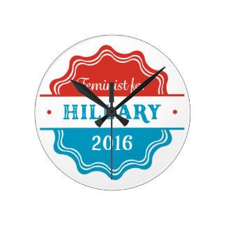 Feminist for Hillary 2016 Round Wallclock