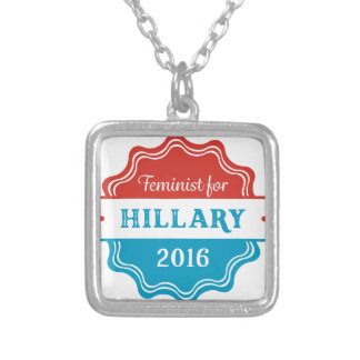 Feminist for Hillary 2016 Square Pendant Necklace
