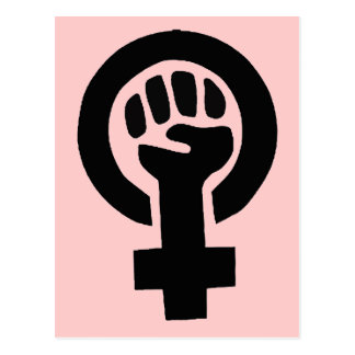 Feminist Girl Power Symbol with Pink Background Post Cards