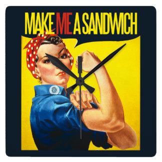 Feminist Make me a Sandwich Square Wall Clock