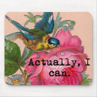 Feminist mousepad vintage bird with pink floral
