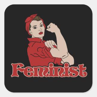 Feminist rosie riveter square sticker