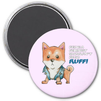 Feminist Shiba Inu Dog Watercolor Painting Magnet