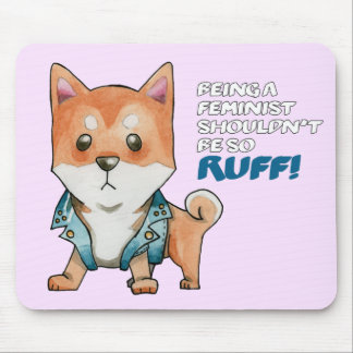 Feminist Shiba Inu Dog Watercolor Painting Mouse Pad