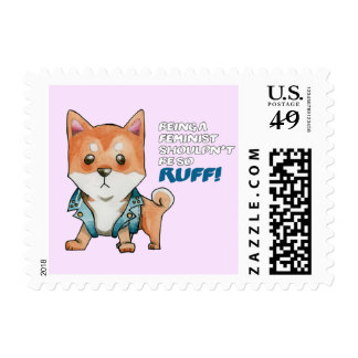 Feminist Shiba Inu Dog Watercolor Painting Postage