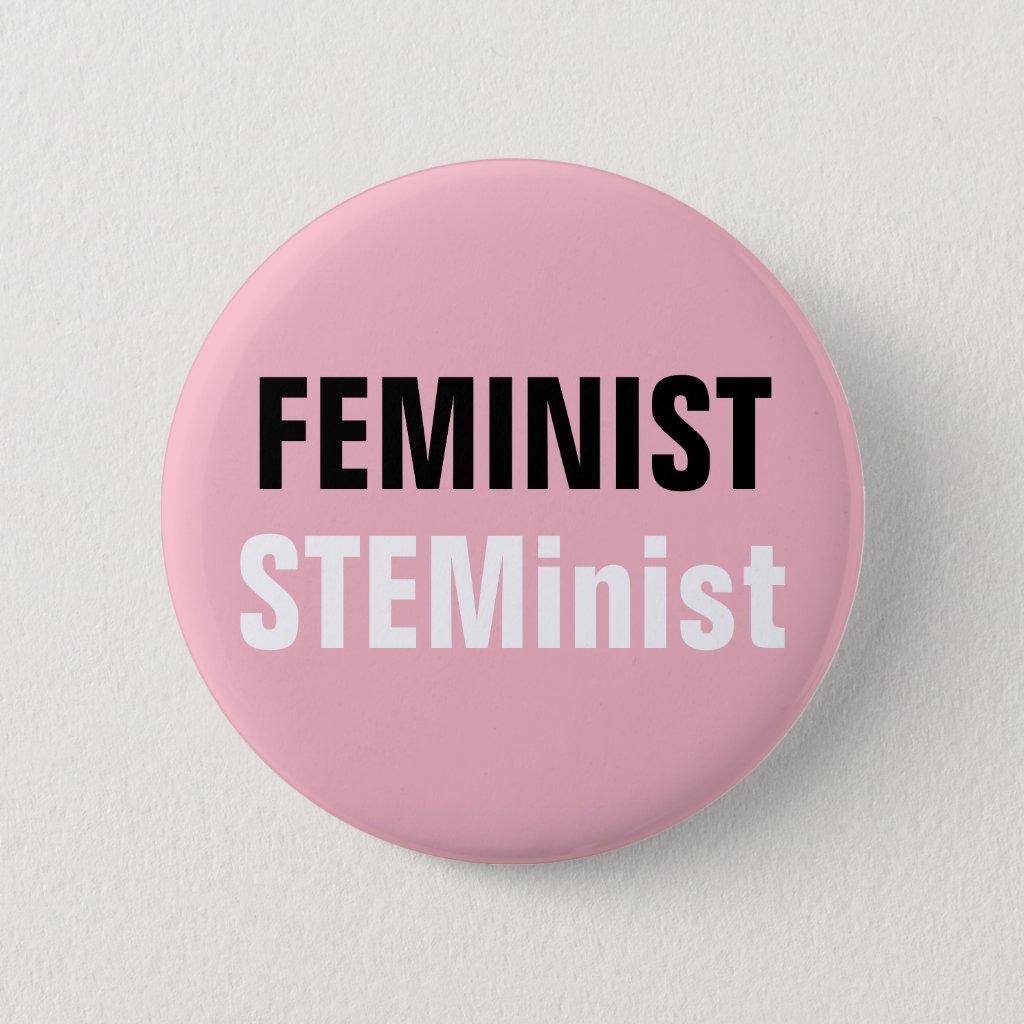 Feminist STEMinist Button Pink STEM Resistance