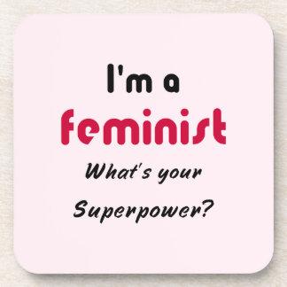 Feminist super power slogan pink coasters