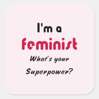 Feminist super power slogan pink square sticker