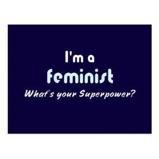 Feminist super power slogan postcard