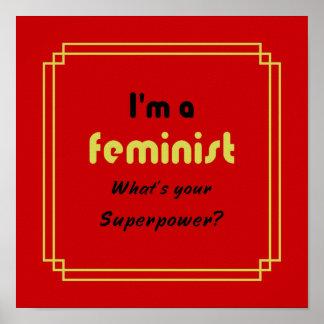 Feminist superpower slogan black on red poster