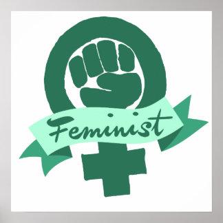 Feminist symbol in teal poster