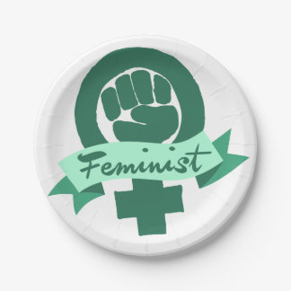 Feminist symbol in teal 7 inch paper plate