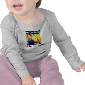 Feminista de Lilttle para OBAMA Camisetas