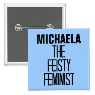 Feminista decidida pin cuadrada 5 cm
