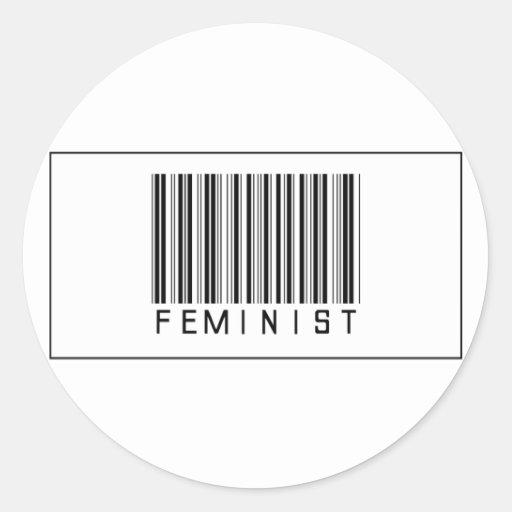 Feminista del código de barras pegatina redonda