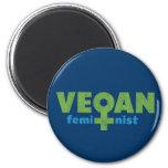 Feminista del vegano iman de nevera