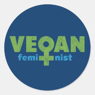 Feminista del vegano pegatina redonda