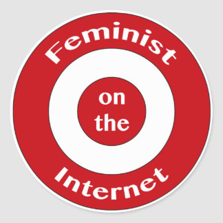 Feminista en el Internet (blanco) Pegatina Redonda