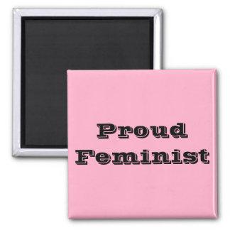 Feminista orgullosa imán cuadrado
