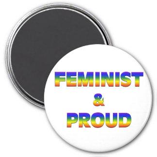 Feminista y orgulloso imán redondo 7 cm