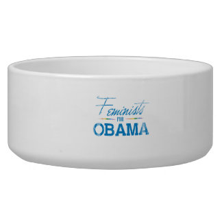 Feminists for Obama Faded.png Pet Food Bowls