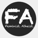 Feminst. Ateo Etiqueta Redonda