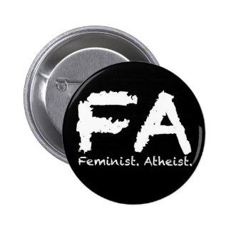 Feminst. Atheist. Button
