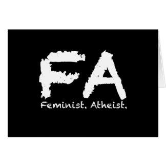 Feminst. Atheist. Card