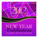 Femme Abstract Purple Pink New Year Party Invite